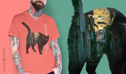 Schwarze Katze Stadt psd T-Shirt Design