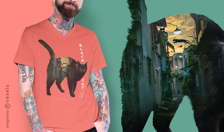 Black cat city psd t-shirt design