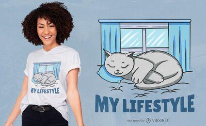 Design de t-shirt de gato estilo de vida