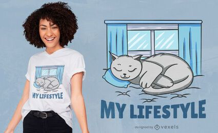 Lifestyle cat t-shirt design