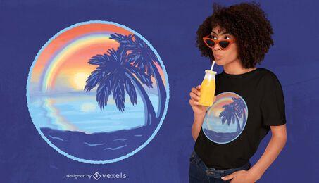 Design de t-shirt de praia arco-íris do pôr do sol