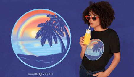 Sunset rainbow beach t-shirt design
