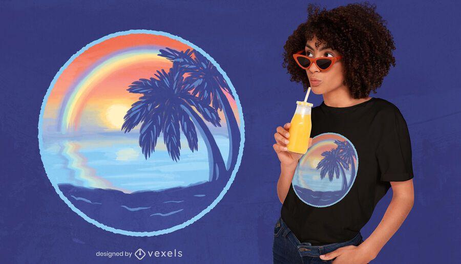 Sonnenuntergang Regenbogen Strand T-Shirt Design