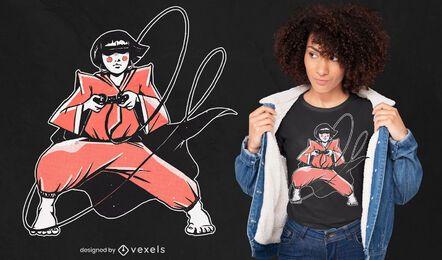 Design de camiseta para garota gamer Samurai
