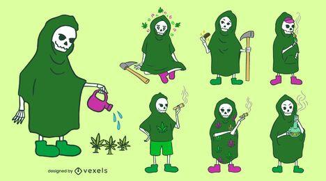 Conjunto de caracteres de mala hierba de la Parca
