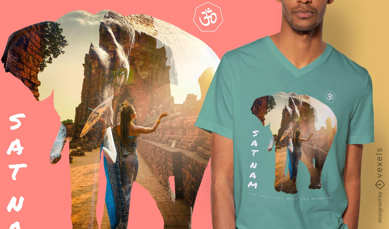 Diseño de camiseta psd mujer sat nam