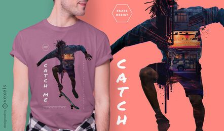 Diseño de camiseta skater city psd