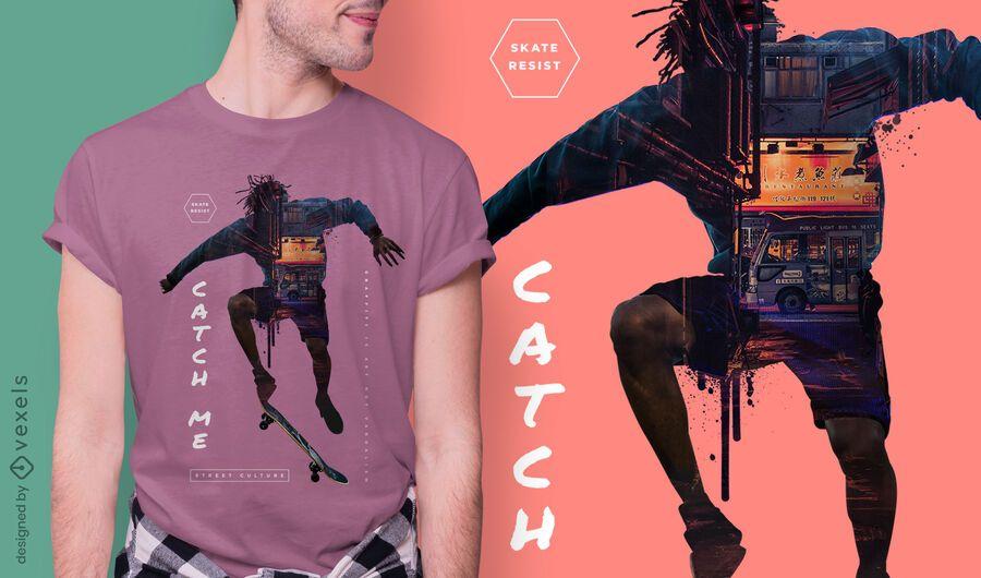 Design de camiseta skater city psd