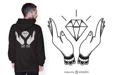 Diseño de camiseta de manos con diamantes.