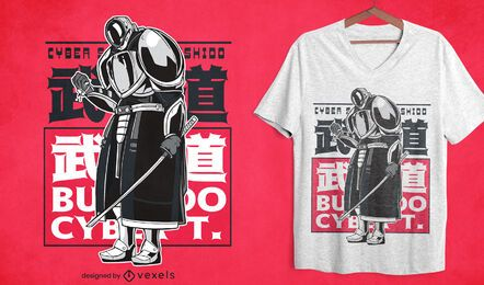 Design de camiseta do Cyber Samurai