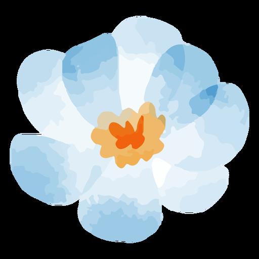 Watercolor teal blue flower
