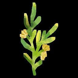 Rama de acuarela y flores amarillas