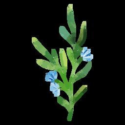 Flores de acuarela rama azul