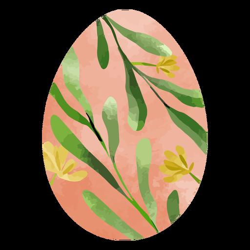 Acuarela de huevo de pascua de flor amarilla