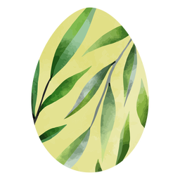 Easter eggs leaves watercolor