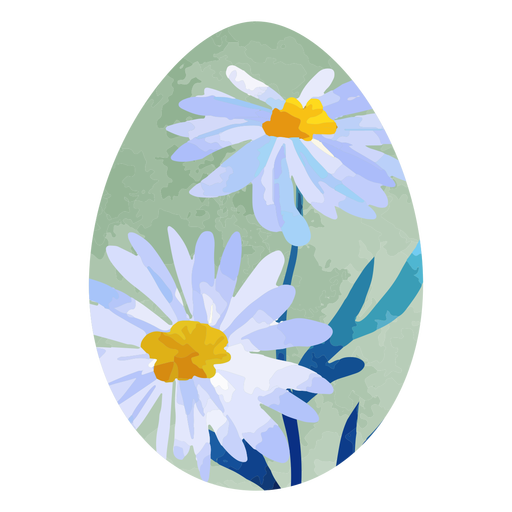 Acuarela de huevo de pascua de margarita