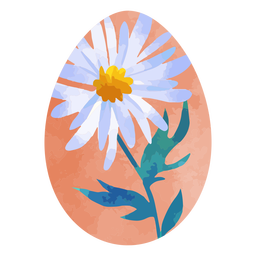 Daisy flower easter egg watercolor