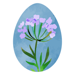 Acuarela de huevo de pascua de lavanda