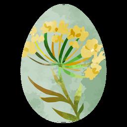 Huevo de pascua acuarela flor amarilla