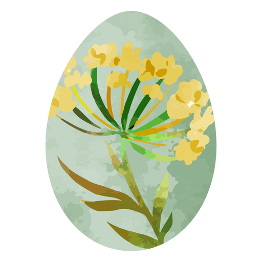 Yellow flower watercolor easter egg
