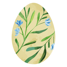Blue flower easter egg watercolor