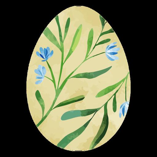 Acuarela de huevo de pascua de flor azul