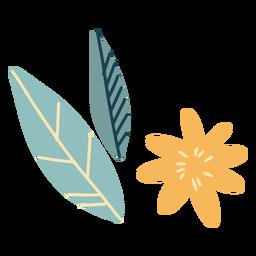 Flor y hojas planas