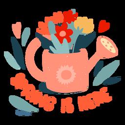A primavera chegou em crachá plano