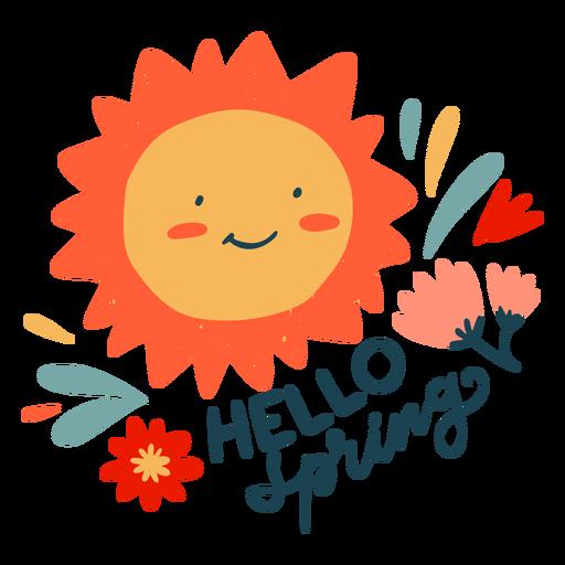 Hello spring badge flat