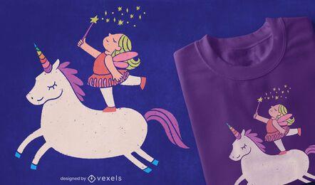 Diseño de camiseta de hada unicornio