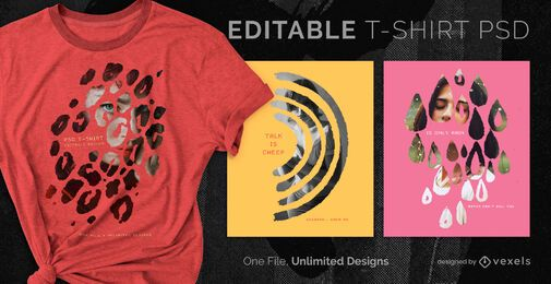 Double exposure scalable t-shirt psd