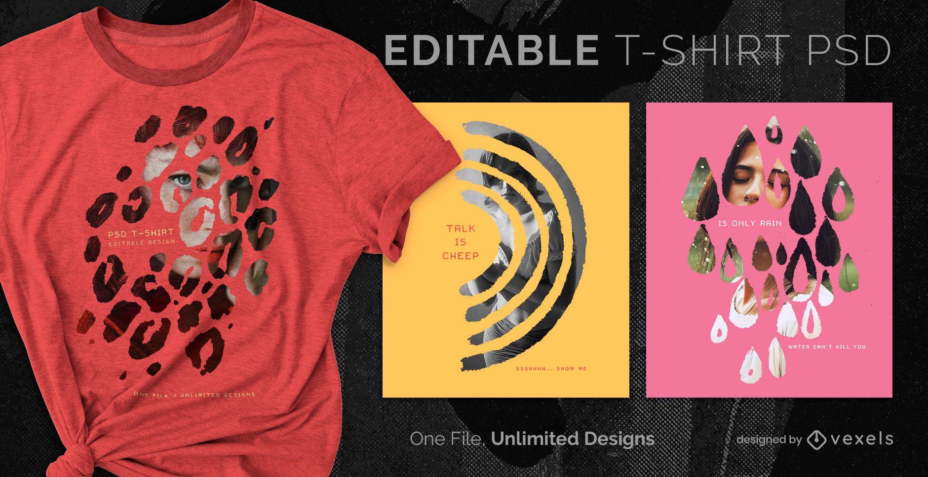 Camiseta escalable doble exposición psd