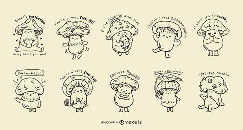 Conjunto de piadas kawaii de cogumelos