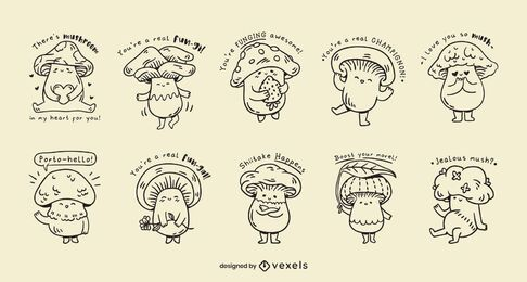 Mushrooms kawaii jokes set