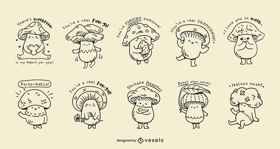 Mushrooms kawaii jokes set