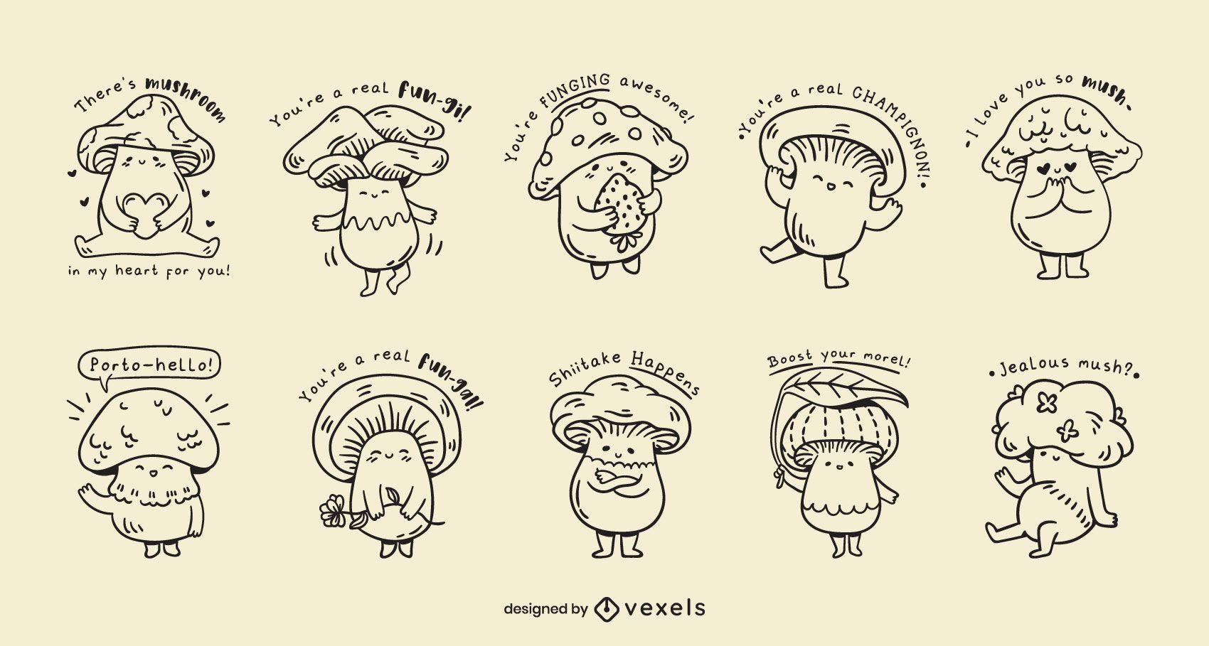 Set de chistes kawaii de setas