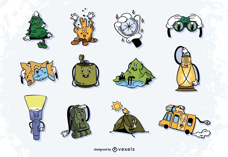 Conjunto de desenhos animados retrô de aventura