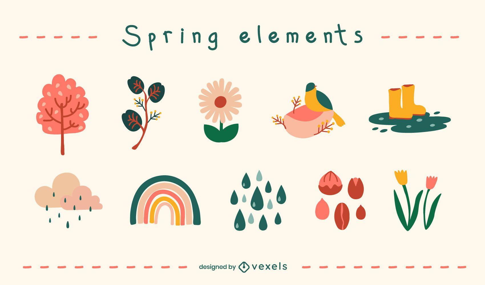Spring flat elements