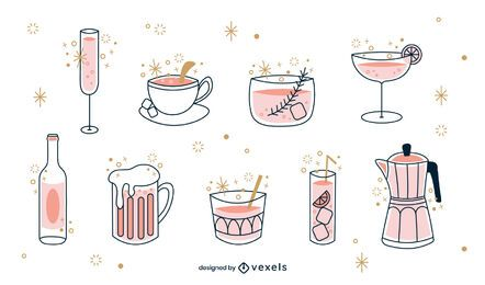 Drinks color-stroke set