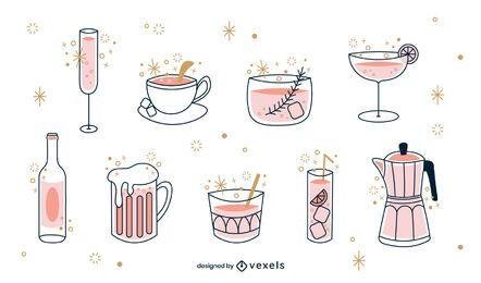 Juego de trazos de color de bebidas