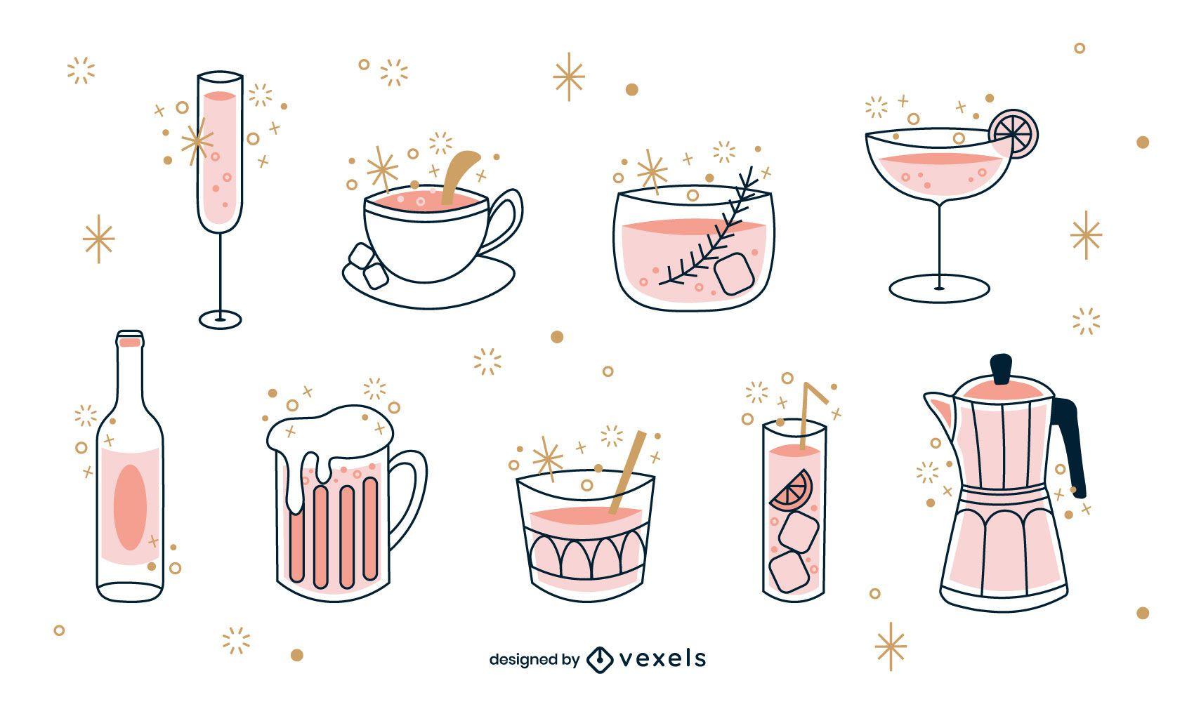 Drinks color-stroke set