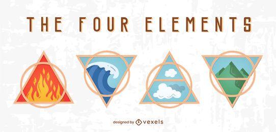 Quatro emblemas de elemento