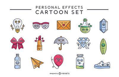Conjunto de dibujos animados retro de efectos personales
