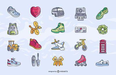 Conjunto de desenhos animados de elementos diversos
