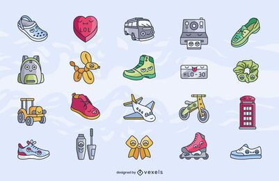 Conjunto de dibujos animados de elementos diversos