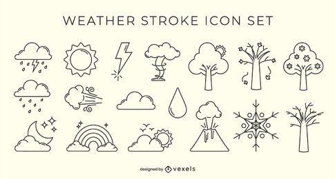 Weather stroke icon set