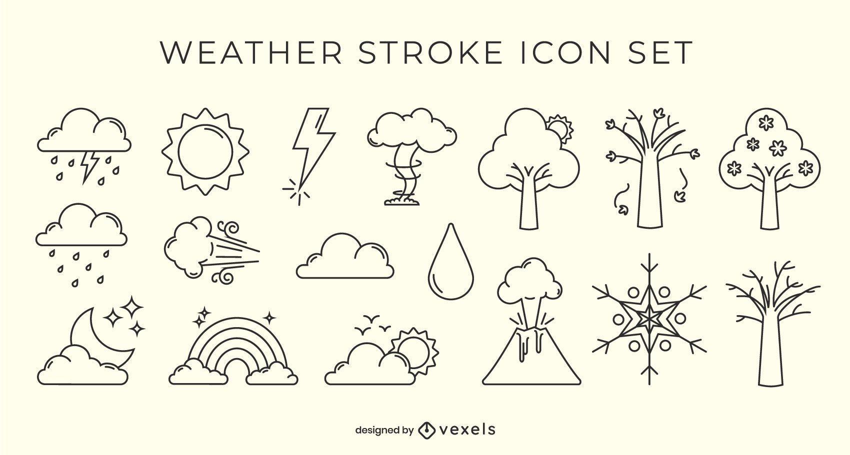 Conjunto de iconos de trazo de clima