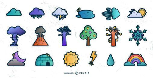 Conjunto de degradado de elementos meteorológicos