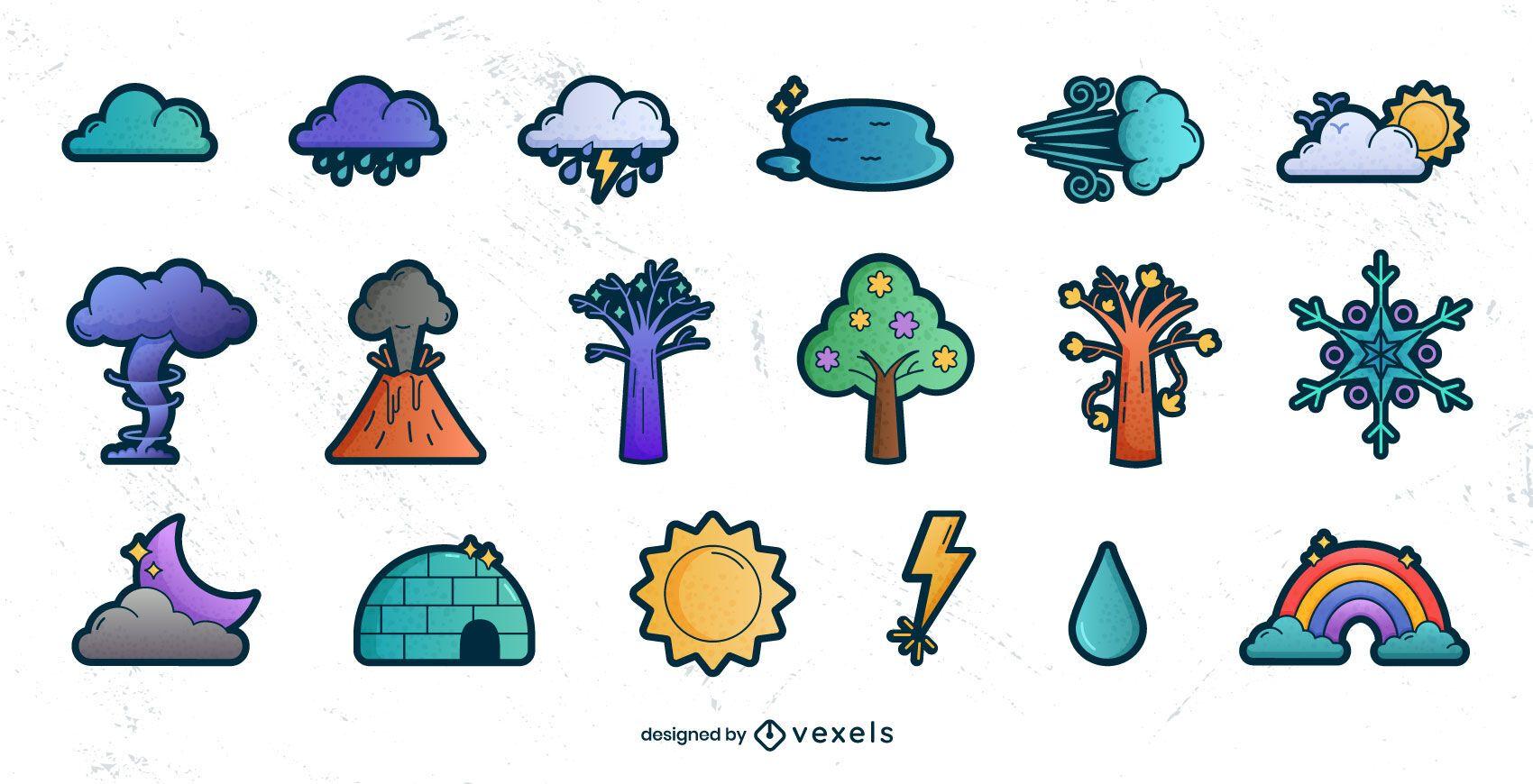 Weather elements gradient set