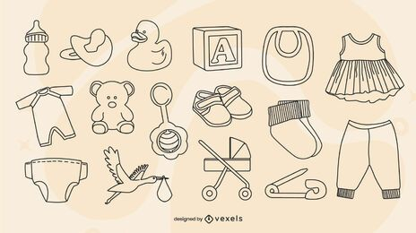 Conjunto de elementos para bebês